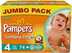 Pampers simply dry, size 4, 148 nappies for 7.20 using subscribe and save with Amazon (family)