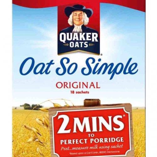 Quaker Oat So Simple Original Porridge (18 per pack - 486g) Any 2 FOR £4.00 @ Waitrose