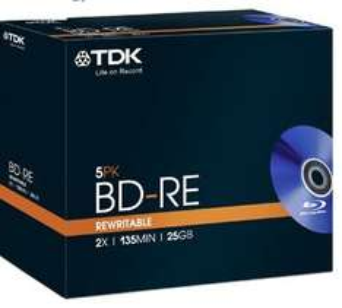 TDK Blu-ray Recordable erasable discs 5pk jewel cased  £5.34 plus £4.98 p&p @ Scan /  Ebay