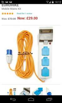 Electric Hook Up for camping £29.99 @ Millets