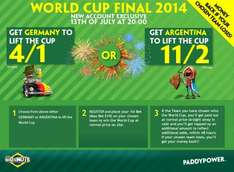 Get Germany at 4/1 or Argentina at 11/2 to lift the World Cup £10