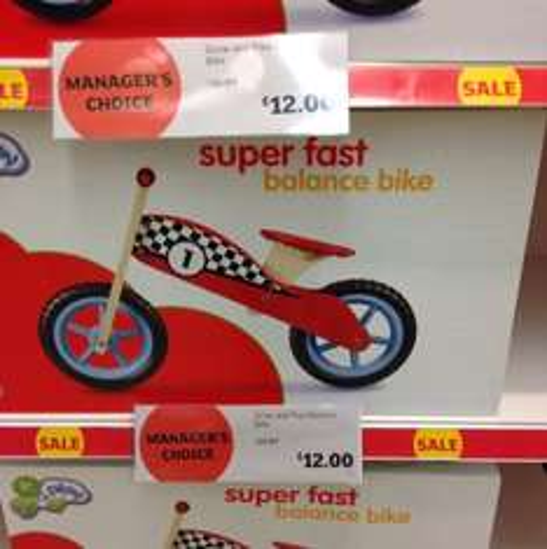 Grow and play balance bike £12.00 @ Sainsbury Instore