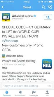 4/1 odds for Germany to lift the World Cup!! @ William Hill