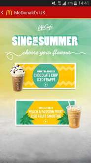 Free Choc Chip Frappe or  Passion Fruit Smoothie at McDonald's