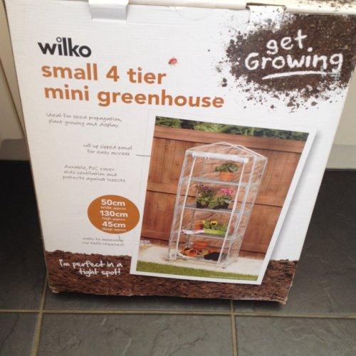 Wilko 4 tier mini greenhouse. Half price £3.75. Wilko instore