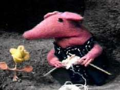 Free Knitting patterns CLANGER! Peppa Pig and More from www.dorkadore.com