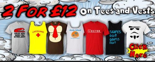 Novelty T shirts and Vests 2 for £12 @ play.com / Bullshirt