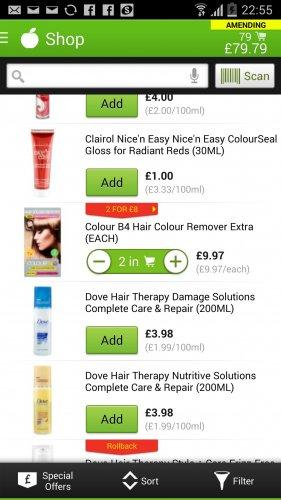 colour be4 hair stripper £9.97 each or 2 for £8 in asda