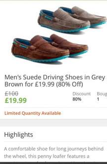 Men's Suede Driving Shoes in Grey or Brown for £19.99 (80% Off) + £1.99 postage @ Groupon