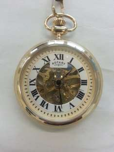 Rotary skeleton mechanical pocket watch in gold now £29.99 delivered Argos Ebay