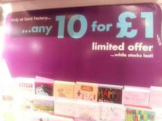 10 birthday cards for £1.00 @ Card Factory instore