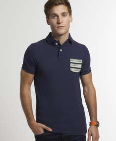 New Mens Superdry Stripe Pocket Pique Polo T-Shirt French Navy Marl Mix AB @ Ebay / superdrystore £17.99