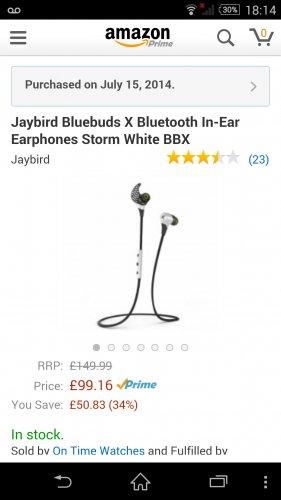 Bluebud Jaybird x Storm White (New Amazon) £99.16