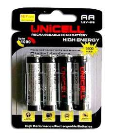 UNICELL 4 x 3800MaH AA RECHARGEABLE Ni-MH BATTERIES 1.2V JUST £3.99 Delivered from Cosmetex on Ebay