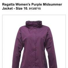 Regatta women's all weather jacket, sizes 10-16, purple or pink, Argos, now heavily reduced to £5.99 (RRP £19.99)