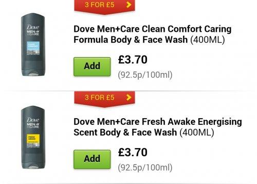 3 for £5 Dove XL body wash (400ml) @ ASDA