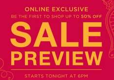 Monsoon online preview starts 6pm Thursday 17th july. instore sale next day. 50% off most lines including kidswear