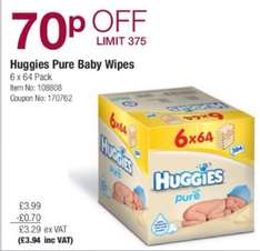 Huggies Pure Wipes 6x 64 pack £3.92 @ Costco from 21 July - 10 August