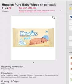 Huggies Wipes (pure, soft skin and aloe) 50p a pack online at Ocado