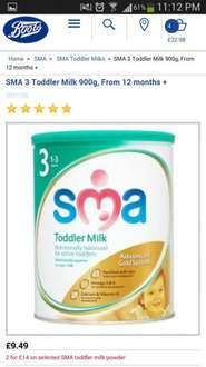 sma toddler milk 2 for £14 BOOTS
