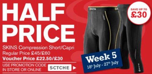 Sweatshop - Half price Skins A200 offer. men's shorts £22.50 (£45) and women's capri £30 (£60)