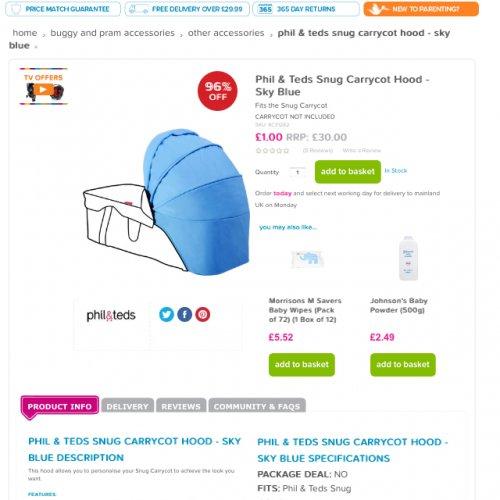 Phil & Ted snug carrycot hood £1 + £2.99 P&P @ Kiddicare