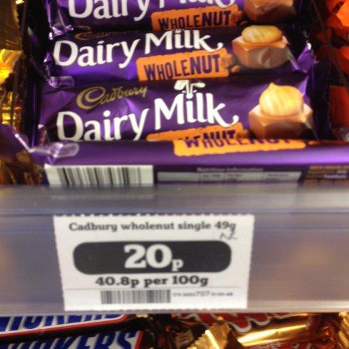 20p dairy milk whole nut @ Sainsburys