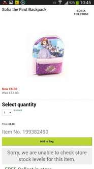 Sofia the First Backpack was £12 now £6 @ house of fraser