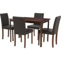 Alton Walnut Dining Table and 4 Black Leather Effect Chairs £99.99 @ Argos