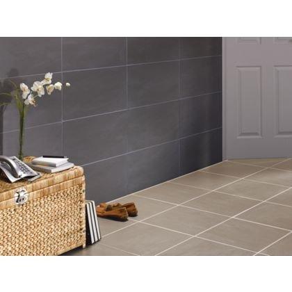Luna porcelain wall/floor tile black/beige £11.19 pack (0.96sqm) @ Homebase, plus other offers.