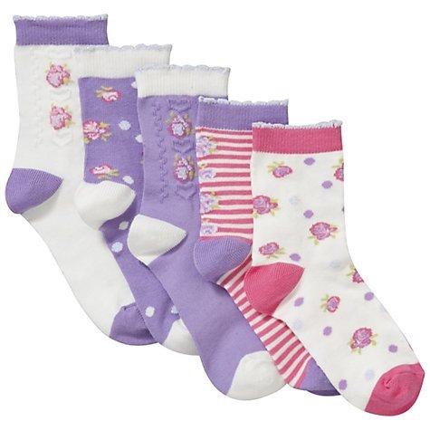 John Lewis Girl Vintage Flower Socks, Pink/Purple 5pack £1.50 Size 4-7 @ John Lewis Free c&c