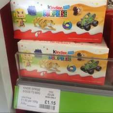 Kinder surprise pack of 3 was £2.39 now only £1.15 at the co op in Central Park London