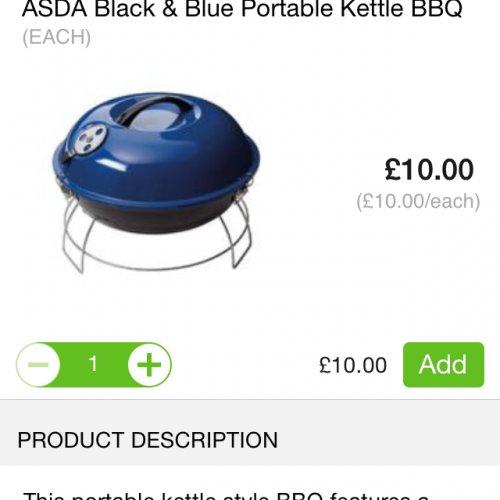 Portable kettle BBQ £10 at ASDA
