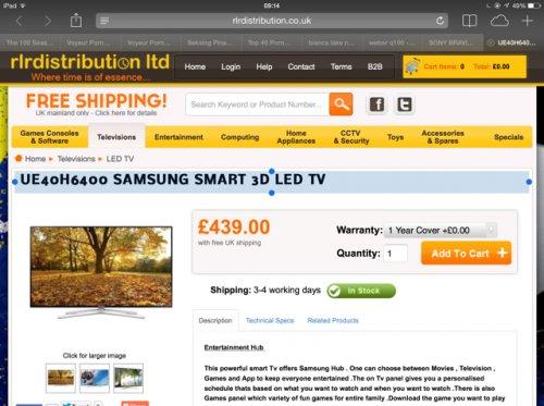 UE40H6400 SAMSUNG SMART 3D LED TV £439 @ RLR Distribution