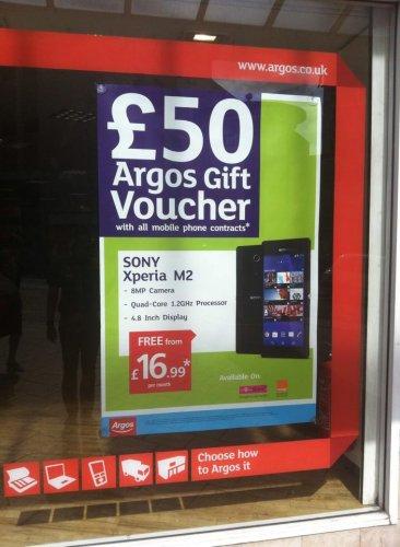 Sony Xperia M2 £16.99 + £50 Argos voucher! @ Argos Mobile Shop