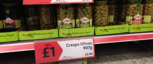 Crespo Olives Large 907g Jar - £1 was £2.99 @ Morrisons