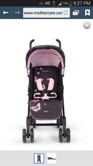 Silver Cross Pushchair in Black & Pink or Black & Blue. Suitable from birth to toddler only £100! Comes with rain cover and drinks drinks.  BARGAIN! at Mothercare
