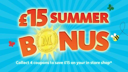 £15 off Morrisons Summer Bonus (4 x £40 Shops)