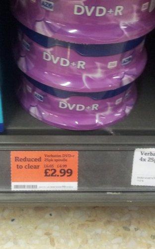 Verbatim DVD+R 4.7GB 25Pk Spindle @ Sainsburys £2.99