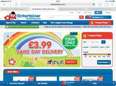 Same day delivery today only £3.99 @ Thetoyshop/Entertainer. Order by 3pm.