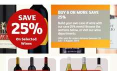 25% off 6 or more wine online with Sainsbury Groceries from 25 July.
