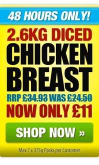 Musclefood - Red Tractor 2.6kg diced chicken £11 + £3.95 delivery if order under £75, free if over