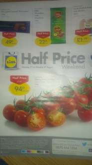 Lidl Half Price Weekend Offer (Saturday 2nd to Monday 4th August)- Milk Chocolate with Hazelnuts 22p, Chocolate Caramel Shortcakes 49p, Fresh Scottish Pork Loin Steaks £1.19, Cherry Vine Tomatoes 94p per pack.