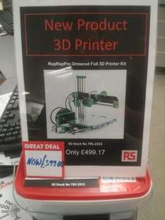 reprappro 3D Printer - £399.99 instore @ RS Components