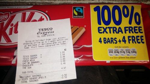 4+4 free 4 finger Kit Kat £1.00 @ Tesco