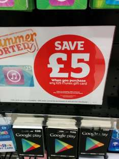 save £5 on £25 itunes card - £20 @ Sainsbury s in store