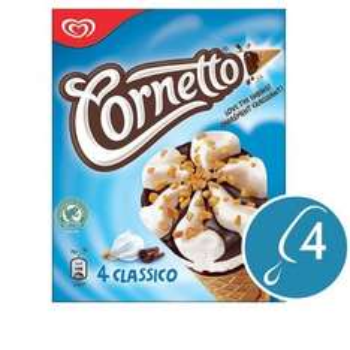 Cornetto Classico Ice Cream Cone 4 x 90ml £1.00 @ Ocado