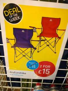 Comfortable Eurohike camping chairs, two for £15 and one for £10 at Millets