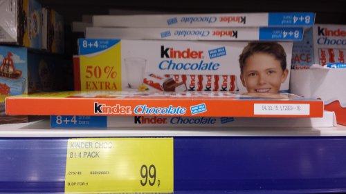 Kinder chocolate bars 8+4 free @ B&M for 99p