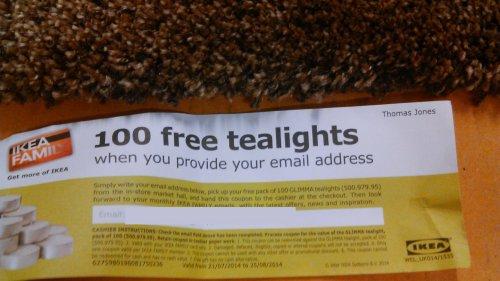ikea 100 free tea light candles